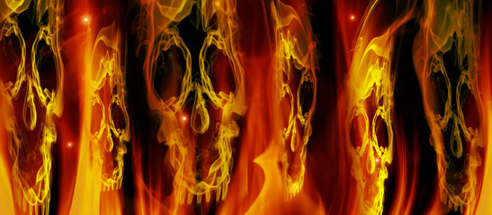 flames and skulls digital illustration background