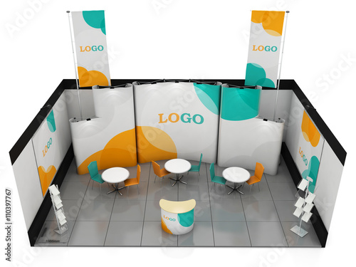 Creative Booth Exhibition : Blank creative exhibition stand design. booth template. 3d render
