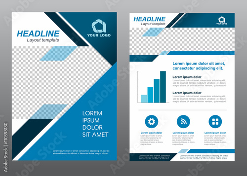 Layout flyer template size A4 cover page blue tone Vector design ...