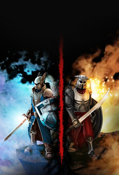 Confrontation between the two knights