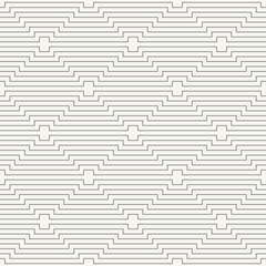 Modern stylish outlined geometric background with repeating horizontal lines - vector seamless pattern