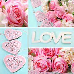 love collage in pastel colors