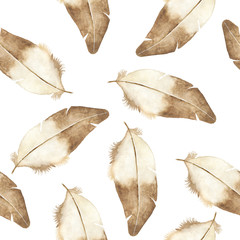 Watercolor feather seamless pattern on white background