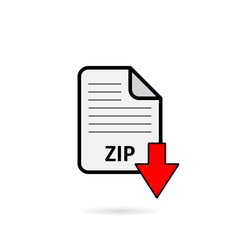 ZIP file with red arrow download button on white background vector