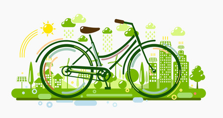 Bicycle with green city