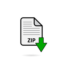 ZIP file with green arrow download button on white background vector