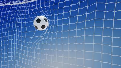 Fußball im Netz vom Tor