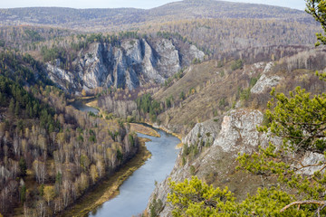 Panorama White River in the southern Urals