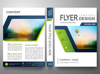 Flyers design template vector.Brochure annual report magazine poster.Leaflet cover book and presentation with balloon and sky background. Layout in A4 size with abstract blue polygons.illustration.