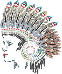 ative American in a headdress with feathers