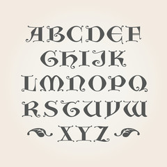 Gothic Initials. Capital latin A-Z letters in vector. Decorative Alphabet.