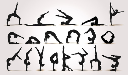 Yoga Positions. Silhouettes icons. Vector illustration