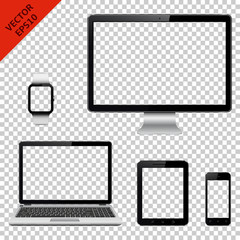 Computer monitor, laptop, tablet pc, mobile phone and smart watch with transparent screen. Isolated on transparent background.