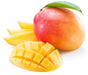Mango fruit and mango slices on a white background.