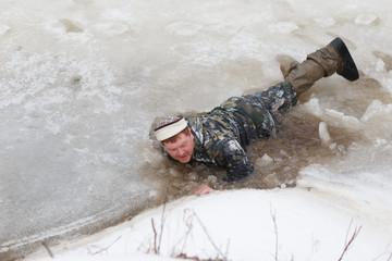 The man fell through the ice