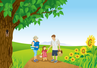 Family stroll in Summer nature