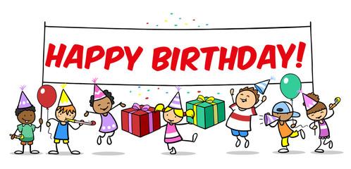 Kinder feiern Geburtstag mit Happy Birthday