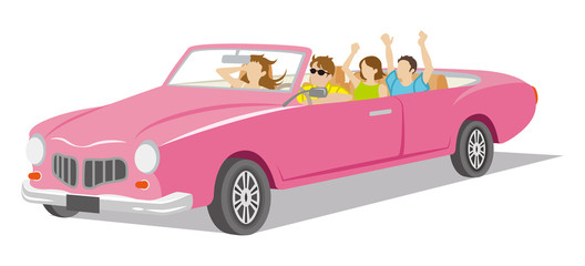 Young people ride the Convertible