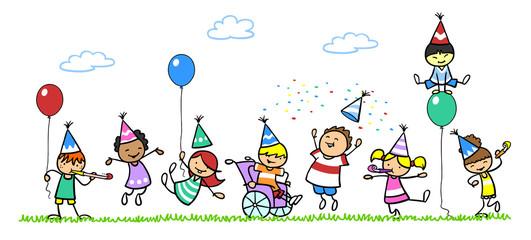 Kinder feiern Geburtstag mit Junge im Rollstuhl
