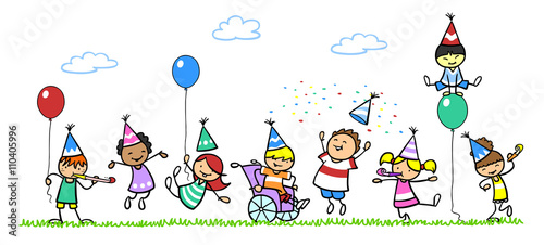 """""""Kinder Feiern Geburtstag Mit Junge Im Rollstuhl"""