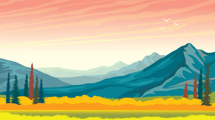 Autumn landscape - mountains and meadow. Panorama.