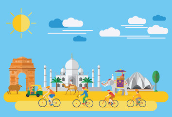 Flat design, Illustration of happy family riding bicycles in India