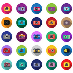 Camera Icons Set - Isolated On Mosaic Background - Vector Illustration, Graphic Design. Long Shadow