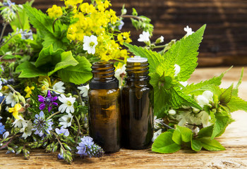 Herbal medicine with plants exracts and essence bottles