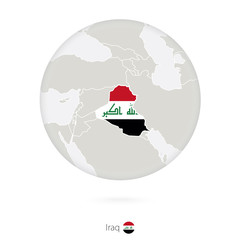 Map of Iraq and national flag in a circle.