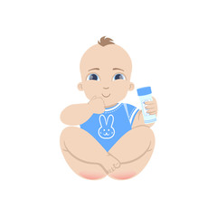 Baby In Blue Holding Powder