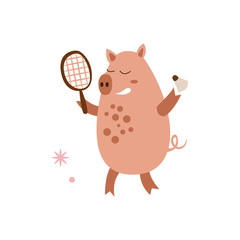 Pig Playing Badminton