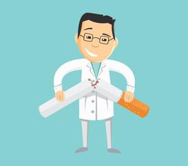 Funny doctor holding broken cigarette. Stop smoking. Addiction treatment. Simple cartoon vector illustration.
