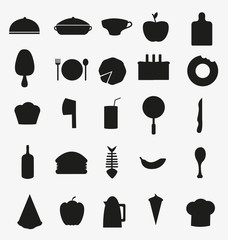 Set of black Food and drink vector icons