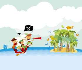pirate tropical beach vector illustration