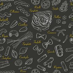Seamless pattern with Italian pasta