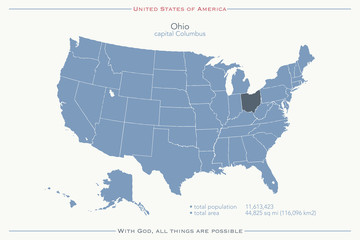 United States of America isolated map and Ohio State territory. vector USA political map. geographic banner template