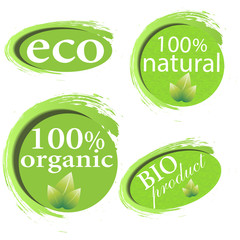 Green, eco, bio and organic labels and stickers on a white backg