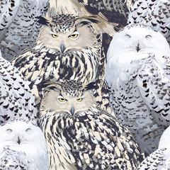 seamless pattern of eagle owl and polar owl