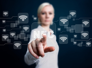Social network business WiFi woman presses button NFC