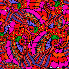 abstract geometric background made of lines and spirals red