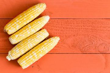 Four fresh sweet corn cobs on an orange table