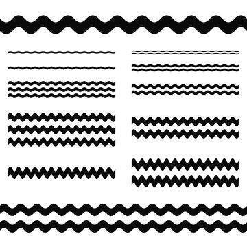 Graphic design elements - wave line divider set