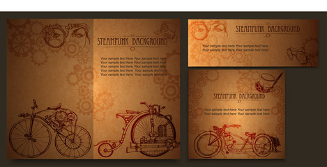 Concept in steampunk style. Steampunk style frame steampunk background