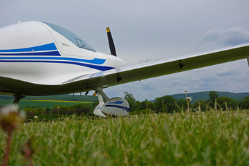 Small sport aircraft at the airport