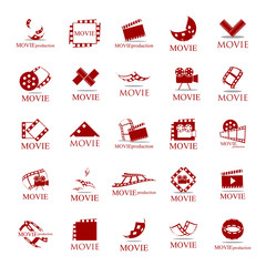 Movie Icons Set - Isolated On White Background. Vector Illustration, Graphic Design