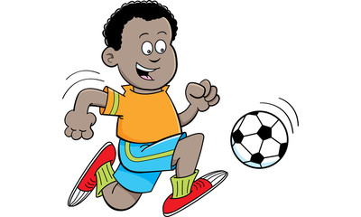 Cartoon illustration of an African boy playing soccer.