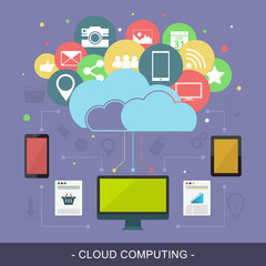 Cloud computing vector illustration with technological devices and colorful icons.