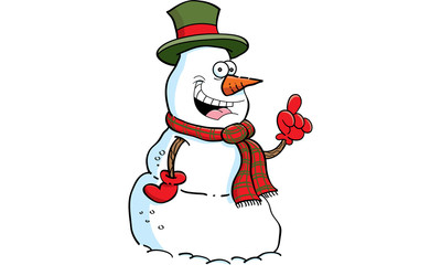 Cartoon illustration of a snowman with an idea.