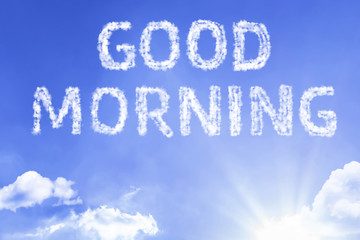 Good Morning cloud word with a blue sky