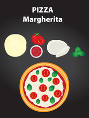 Pizza margherita with ingredients